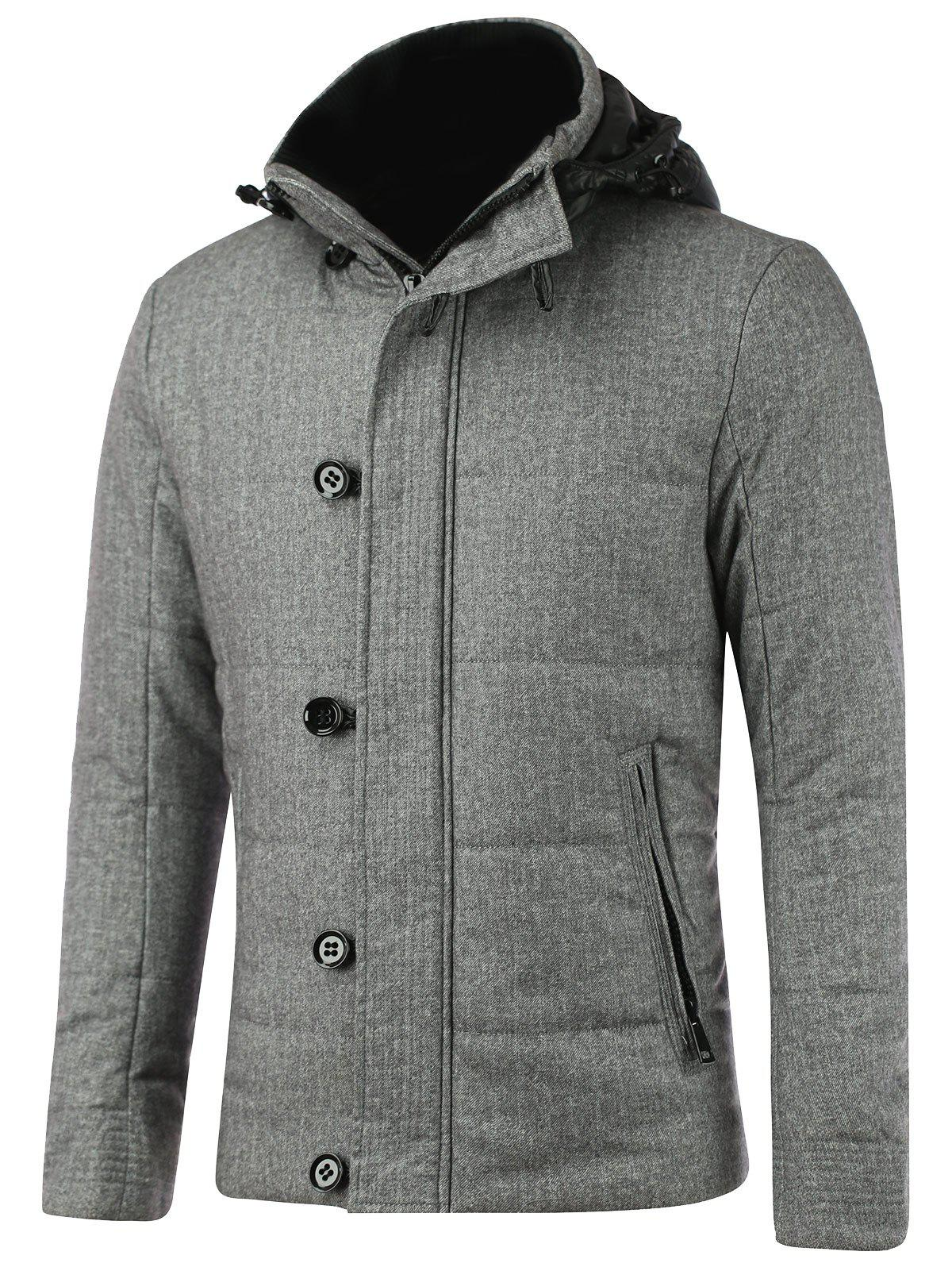 Zippered Button Embellished Hooded Texture Padded Jacket technisub flexus dry
