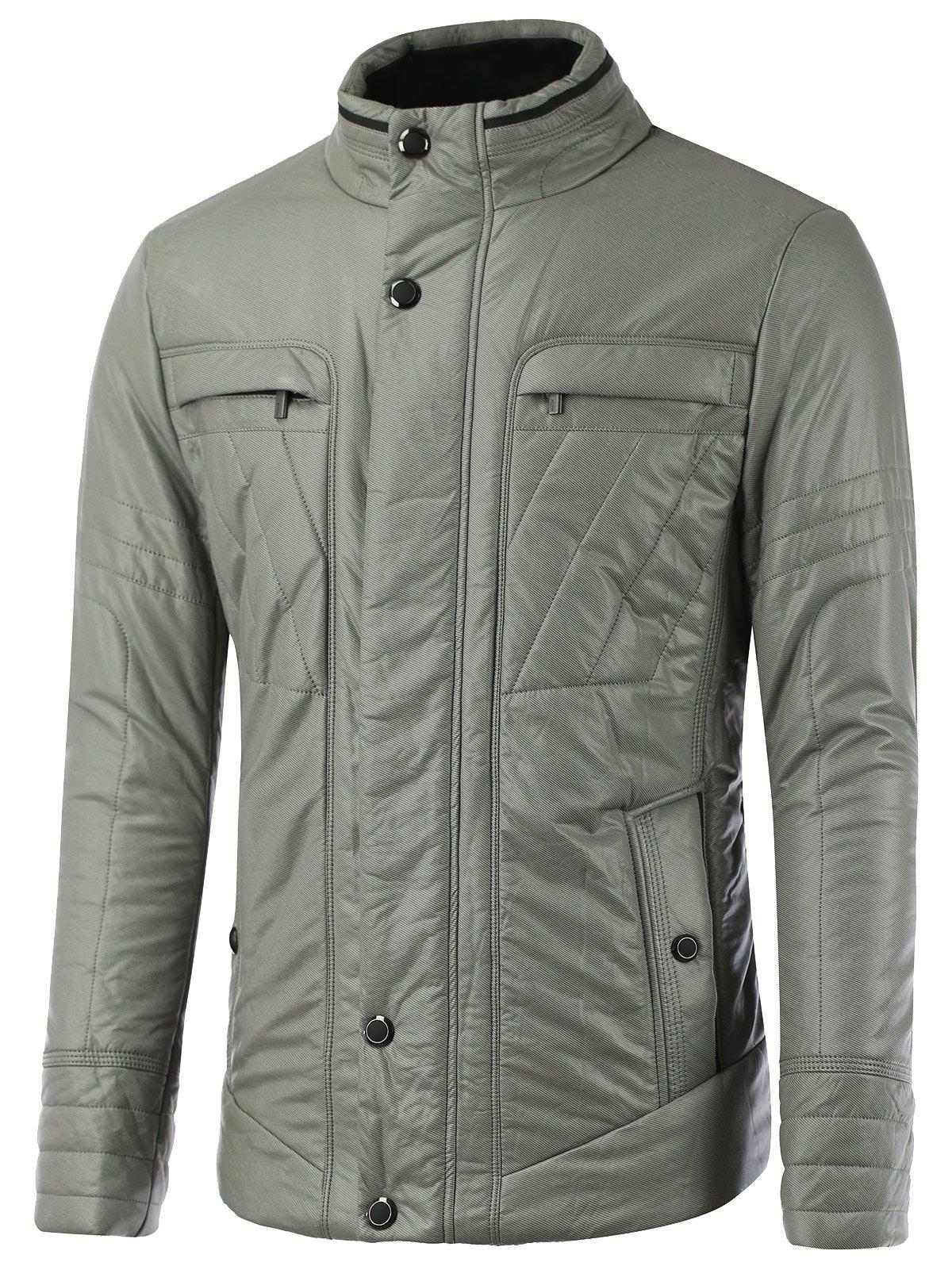 Buckled Pocket Design Zippered Texture Padded Jacket - GRAY M