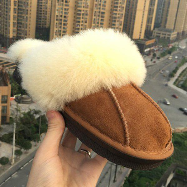 Dark Color Stitching Faux Fur House SlippersShoes<br><br><br>Size: 37<br>Color: BROWN