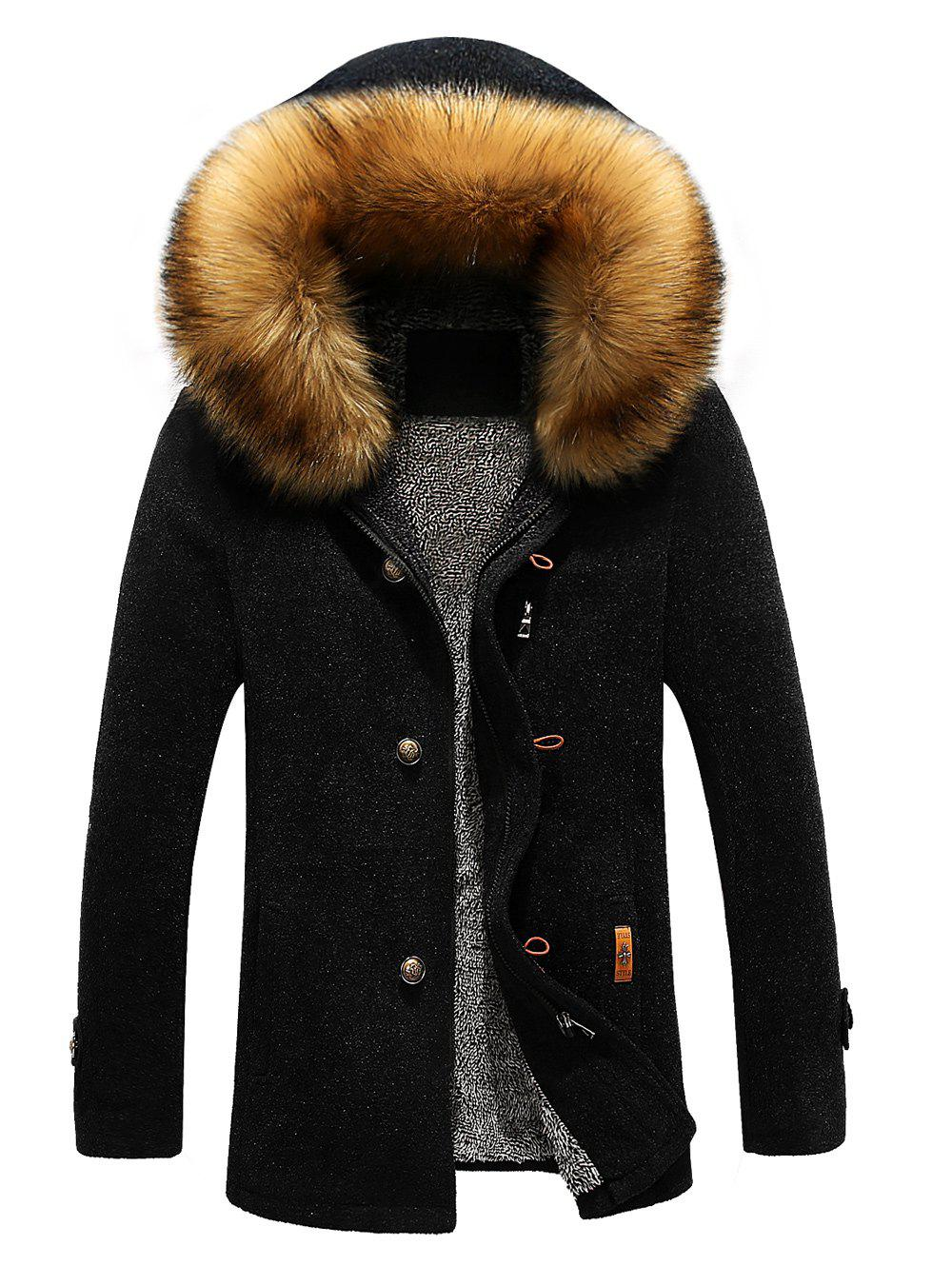 Patch Design Zipper-Up Fur Hooded Jacket, BLACK, M in Jackets ...