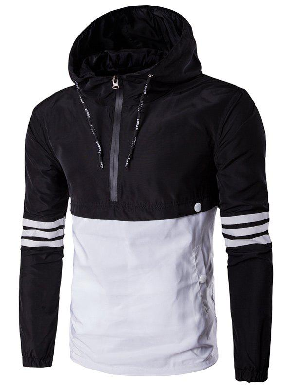 Drawstring Conception Capuche Half-Zip Varsity Stripe Jacket - Noir 3XL