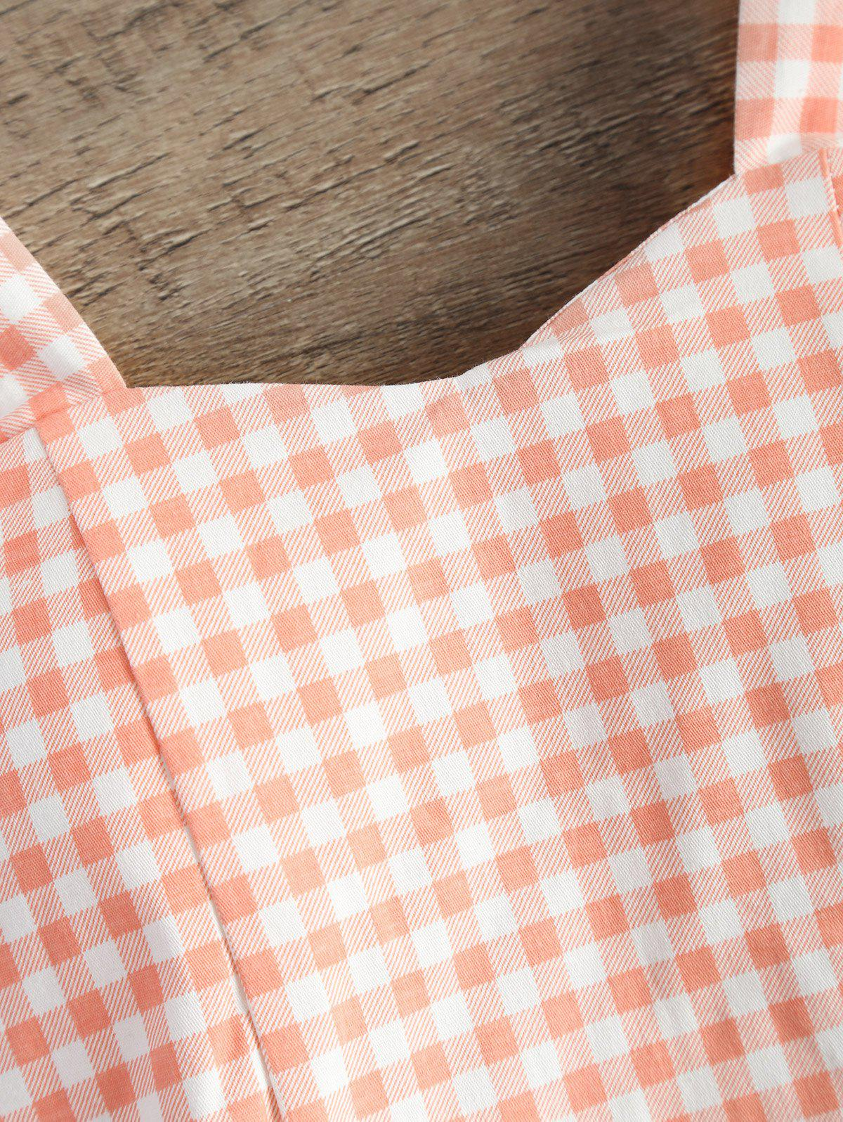 Straps Checked Padded Cropped Tank Top - SHALLOW PINK ONE SIZE