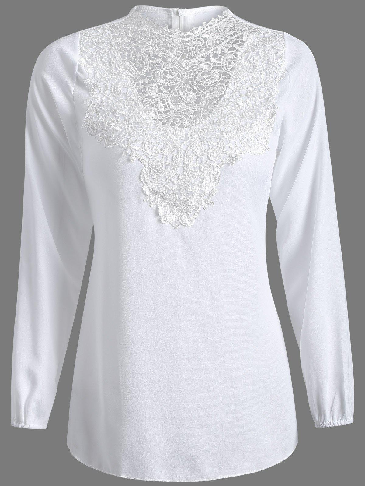 Jewel Neck Lace Spliced Long Sleeve Top - WHITE S