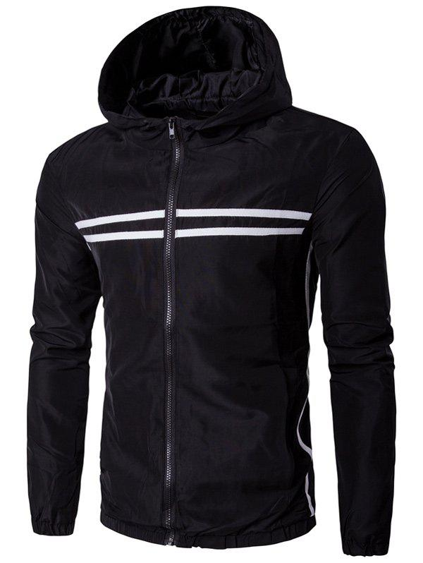 Striped Design Hooded Zip-Up Plus Size Jacket, Black