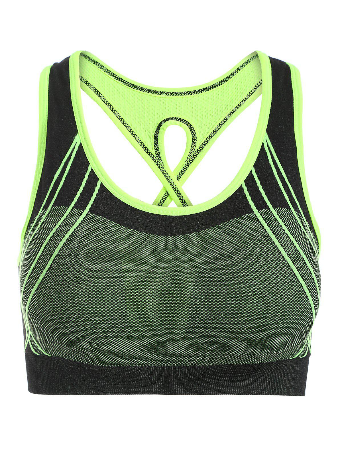 Quick-Dry Criss Cross Shockproof Sports Push Up Bra - GREEN M