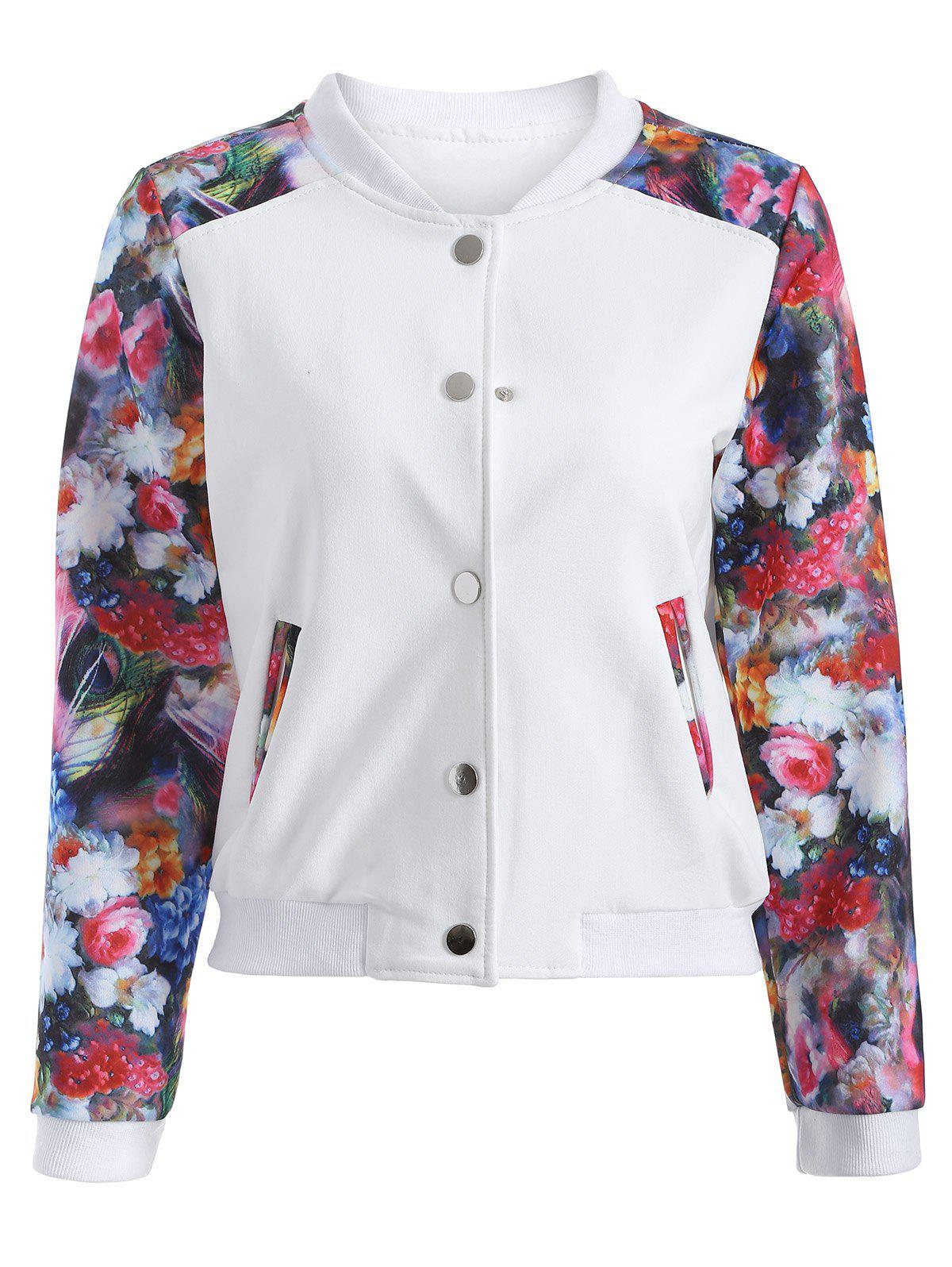 Button Up Floral Long Sleeve Jacket - WHITE XL