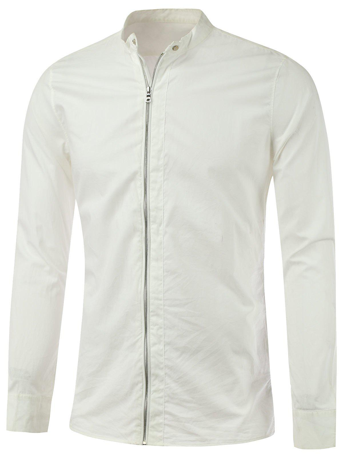 Zipper-Up Stand Collar Lightweight Jacket - WHITE L