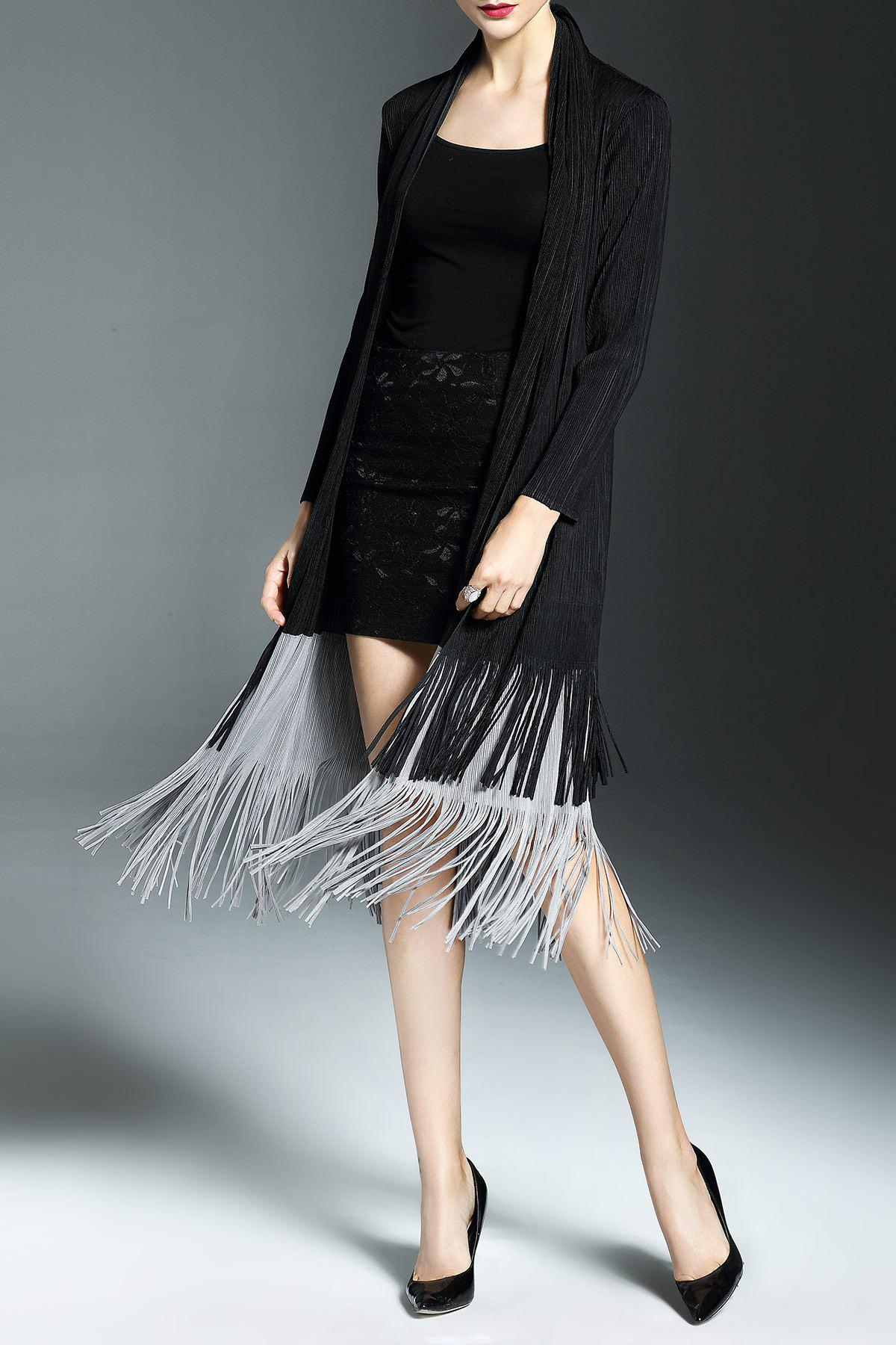 Fringe Color Block Duster Coat - BLACK ONE SIZE