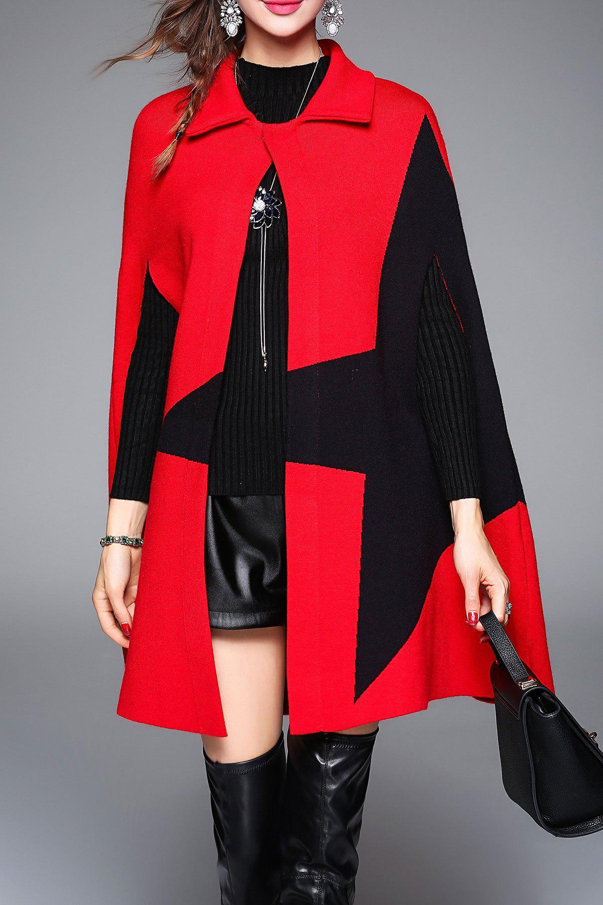Color Block Knitted Cape Coat - RED ONE SIZE