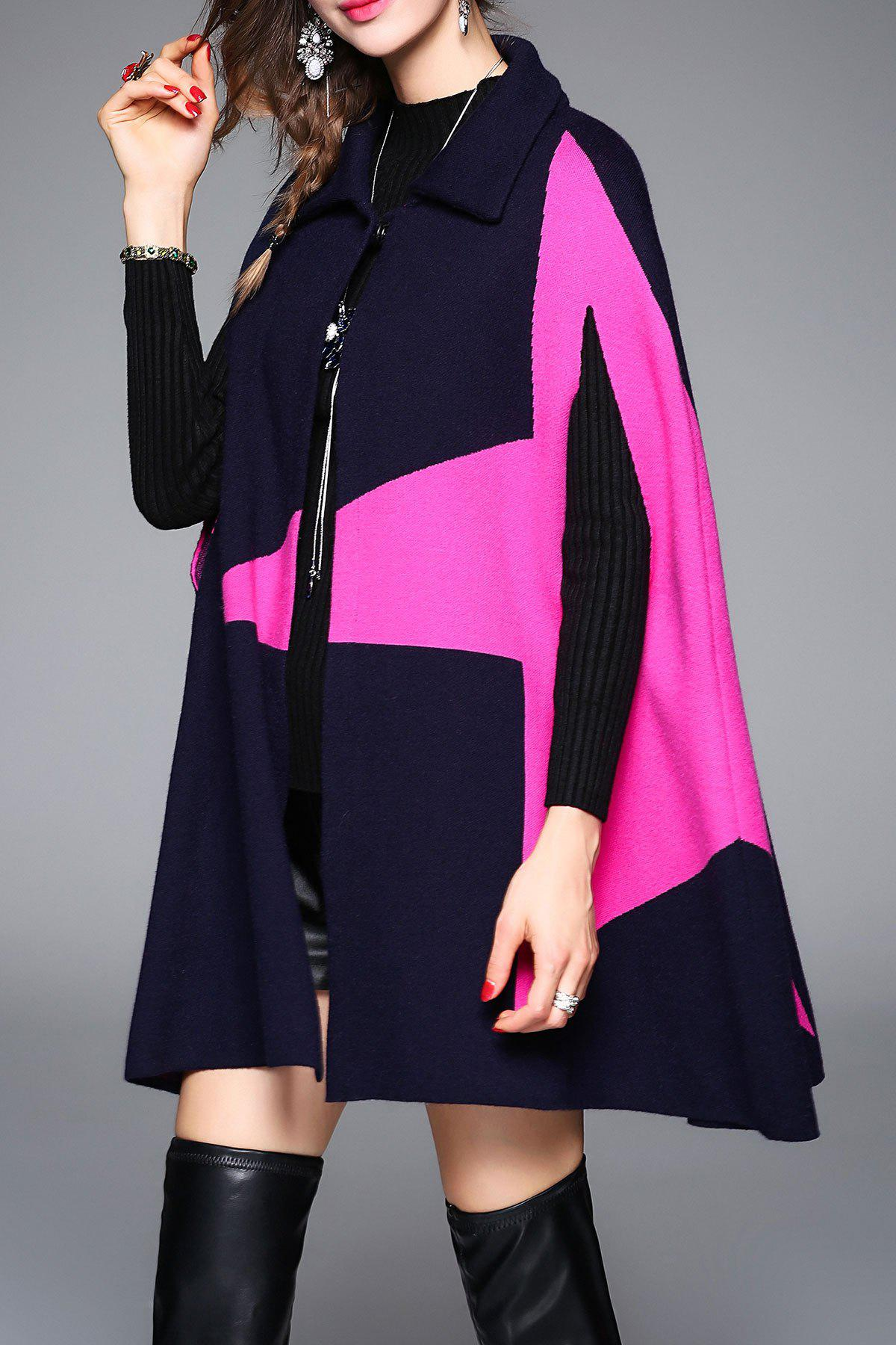 Color Block Knitted Cape Coat - DEEP BLUE ONE SIZE