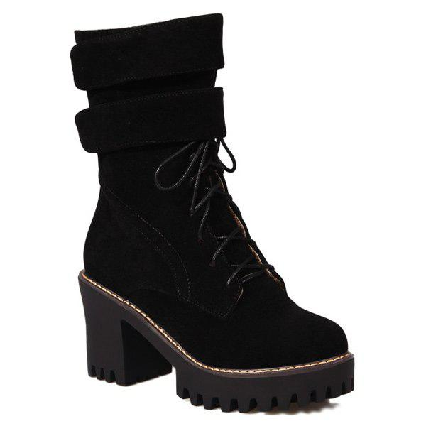 outlet cheap authentic online cheap authentic Chunky Heel Suede Zip Short Boots - Black 37 ByU68GeX