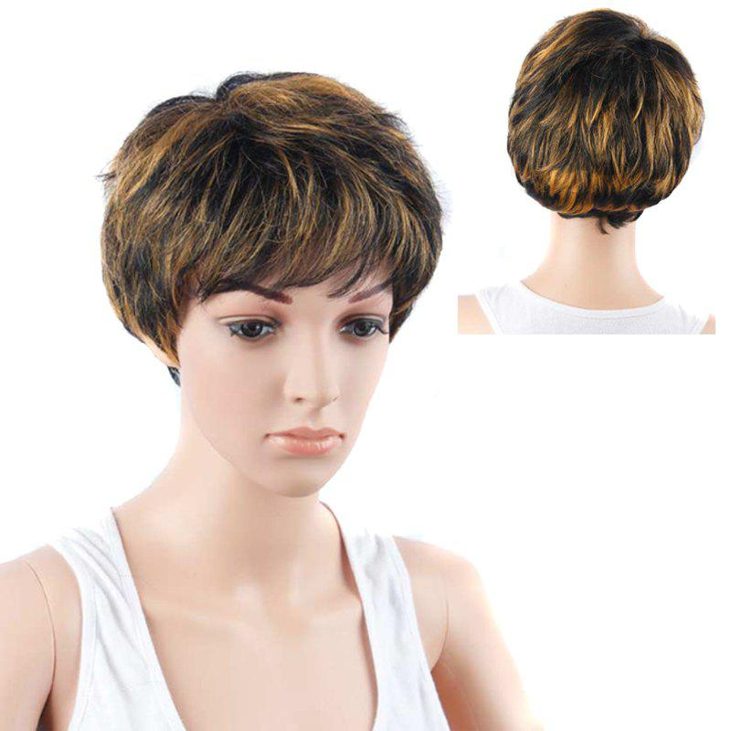 Short Manly Full Bang Mixed Color Straight Synthetic Wig short