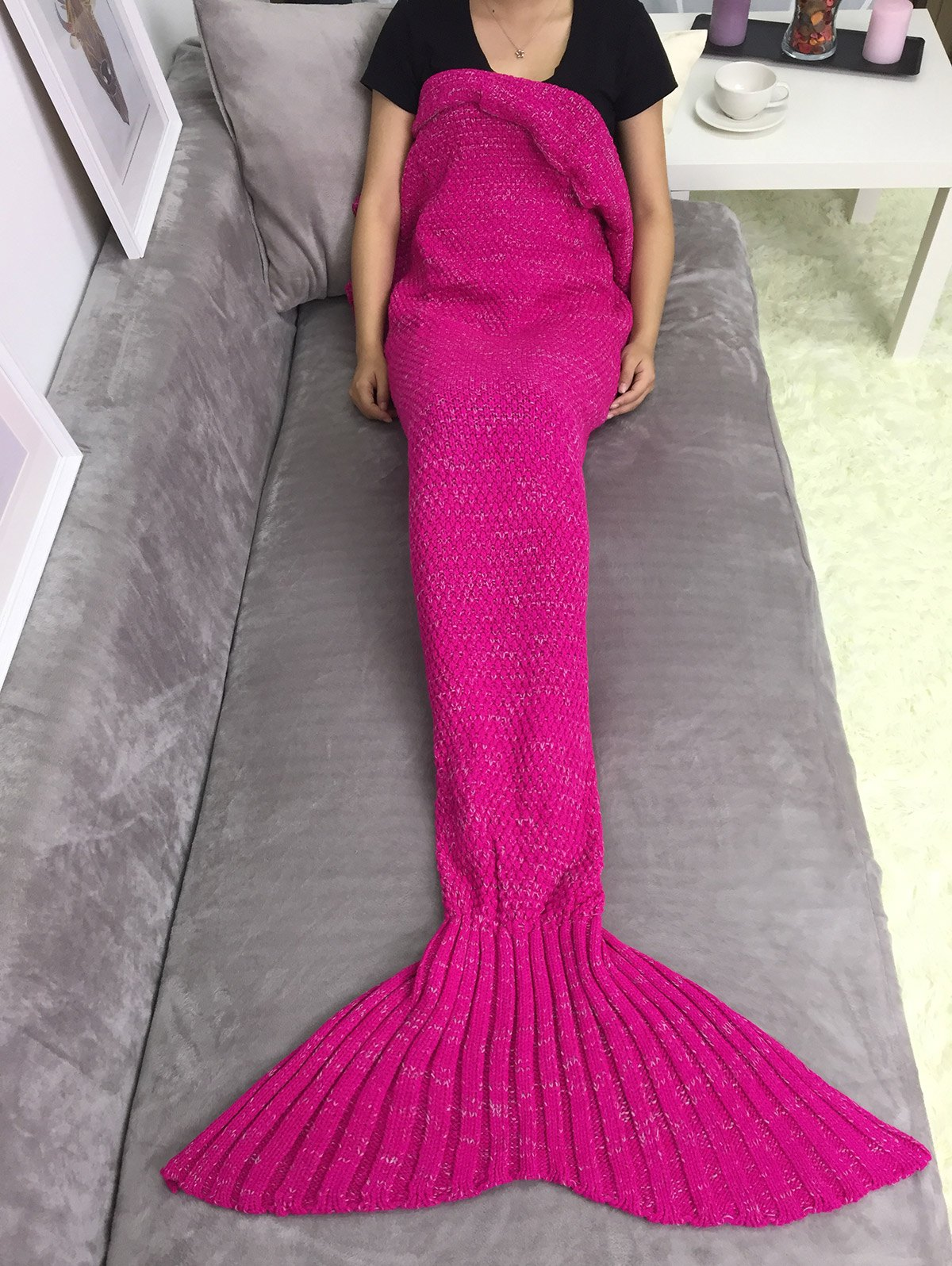 Comfortable Sleeping Bag Mermaid Knitted Blanket - ROSE RED