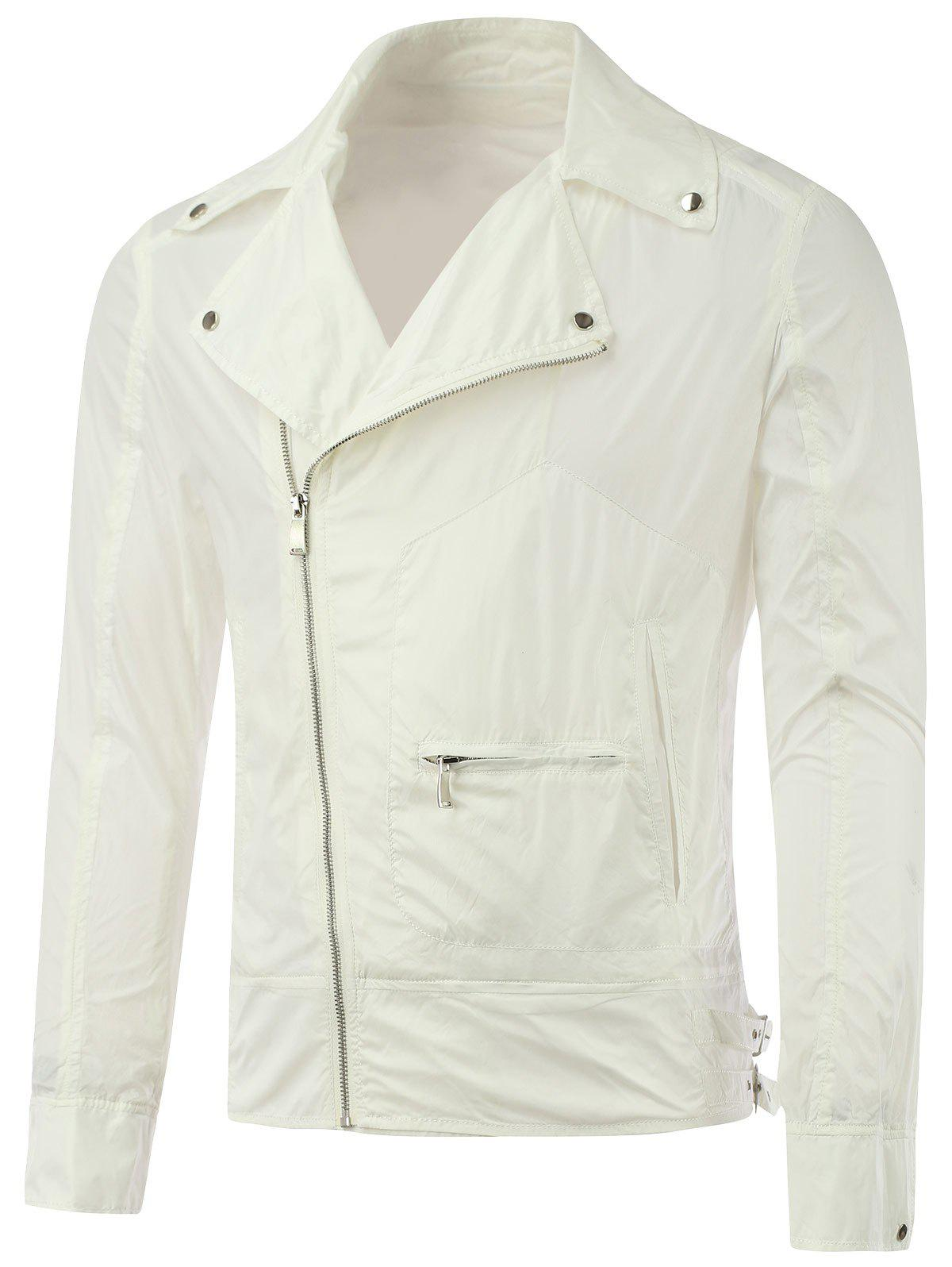 Diagonal Zipper Asymmetric Pocket Lapel Jacket - WHITE M