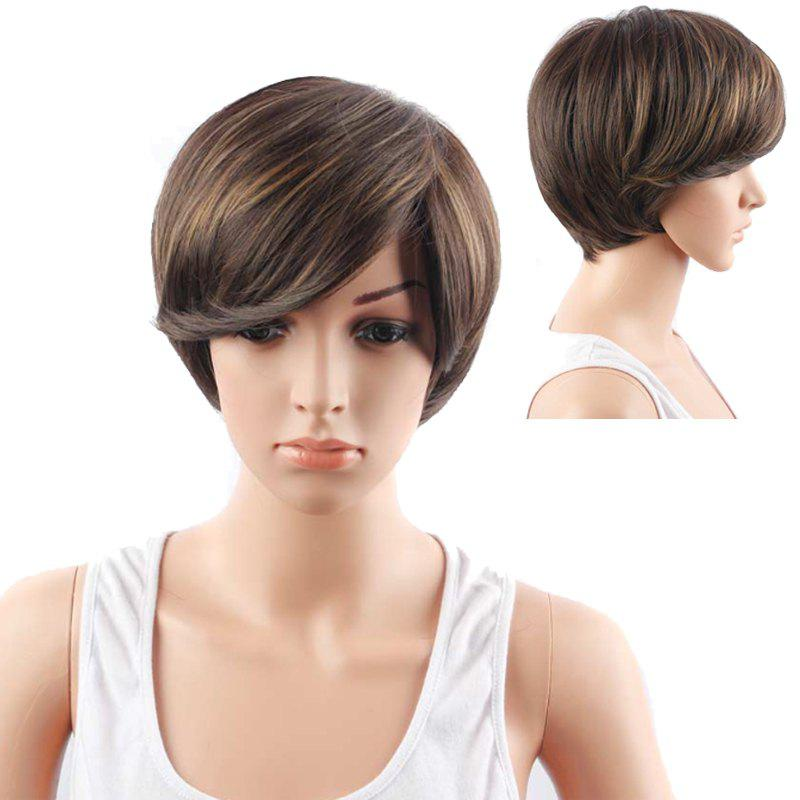 Short Mixed Color Side Bang Straight Synthetic Hair Wig