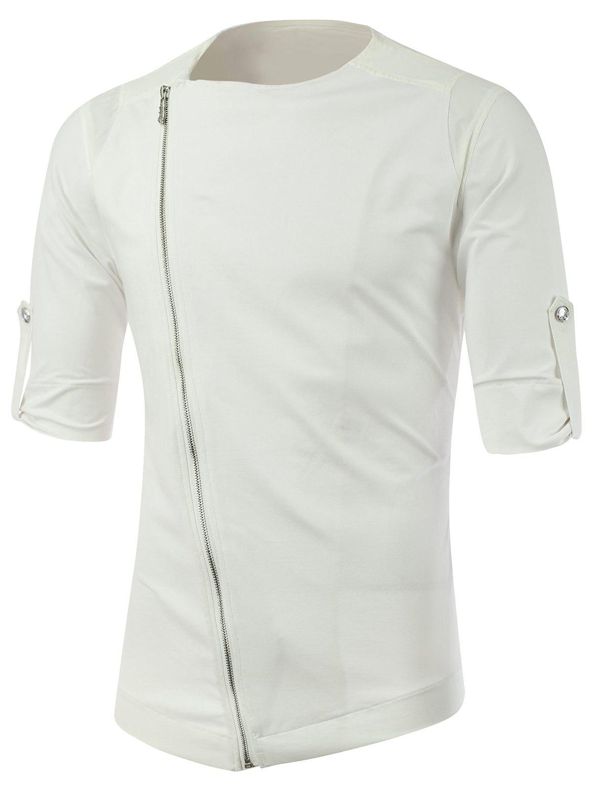 Half Sleeve Side Zipper Up Tee - WHITE M