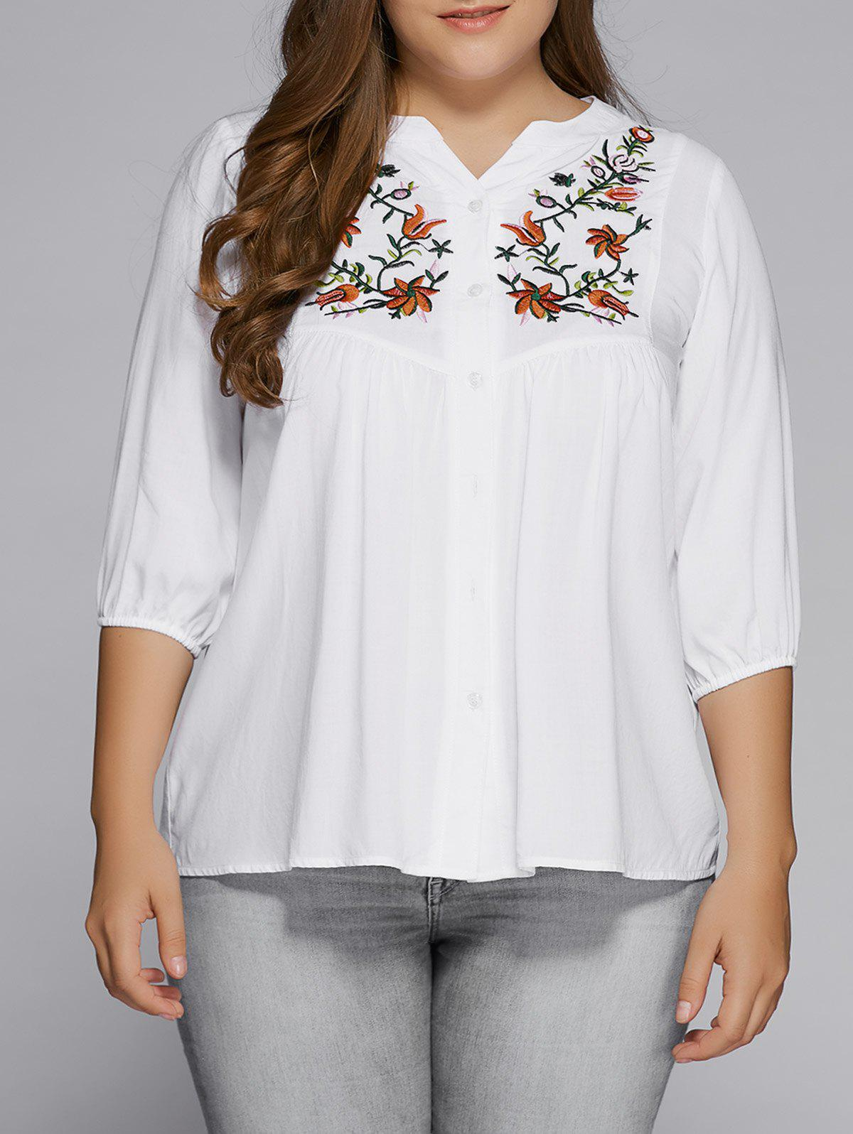Plus Size Button Fly Floral Embroidered Top - WHITE XL