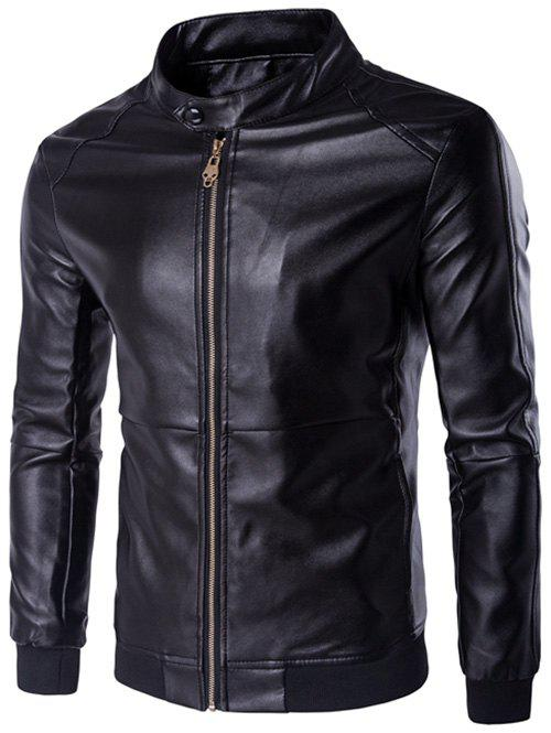 Rib Splicing Zip-Up Plus Size PU-Leather Jacket pu leather and corduroy spliced zip up down jacket