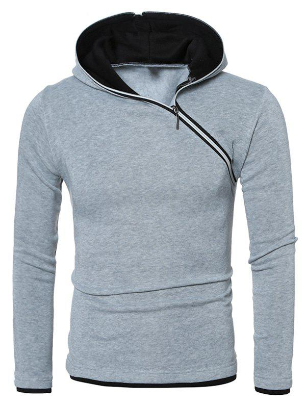 Side Zipper Design Hooded Long Sleeve Hoodie - LIGHT GRAY M