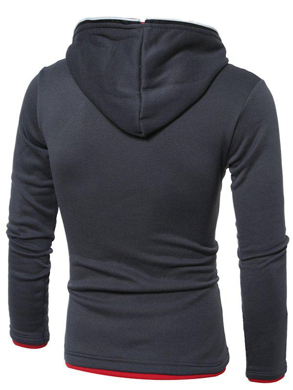 Side Zipper Design Hooded Long Sleeve Hoodie - DEEP GRAY M