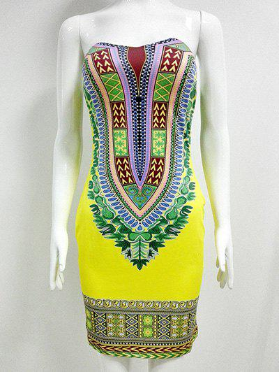 African Style Printed Strapless Bandeau Bodycon Summer Dress - YELLOW M