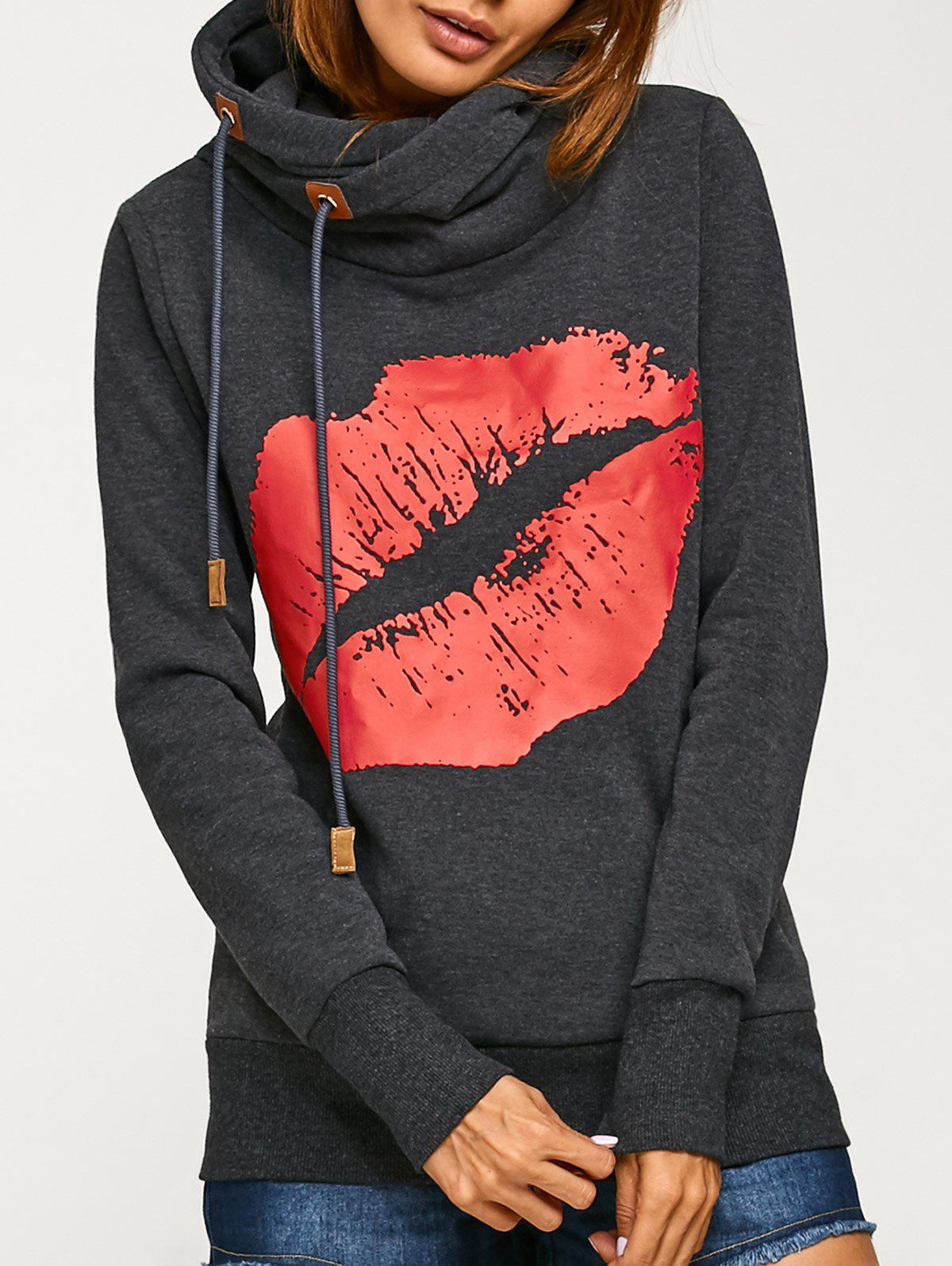Lip Print Kangaroo Pocket Hoodie - DEEP GRAY M