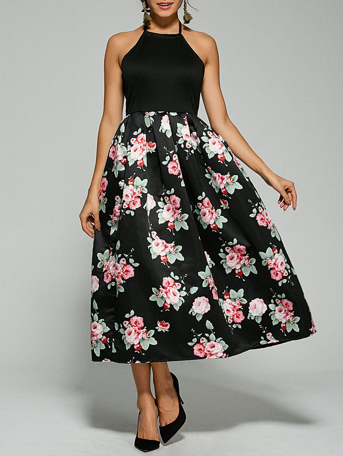 Floral Open Back Tea Length Dress - BLACK S