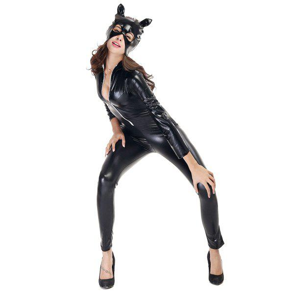 Cool Patent Leather with Kitten Neutral Locomotive Halloween Party Dress Suit - BLACK L