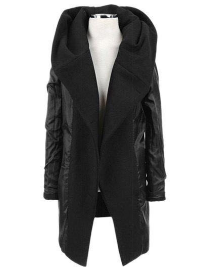 Longline Hooded Double Breasted Woolen Coat - BLACK M