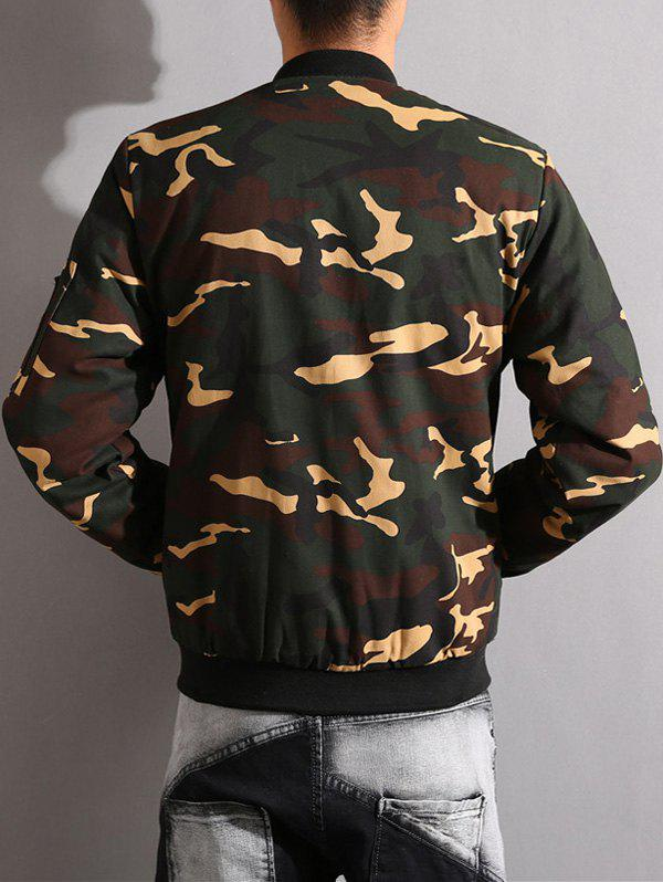 Camouflage Stand Collar Thicken Zip-Up Jacket - ARMY GREEN M