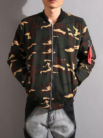 Camouflage Stand Collar Thicken Zip-Up Jacket - ARMY GREEN XL