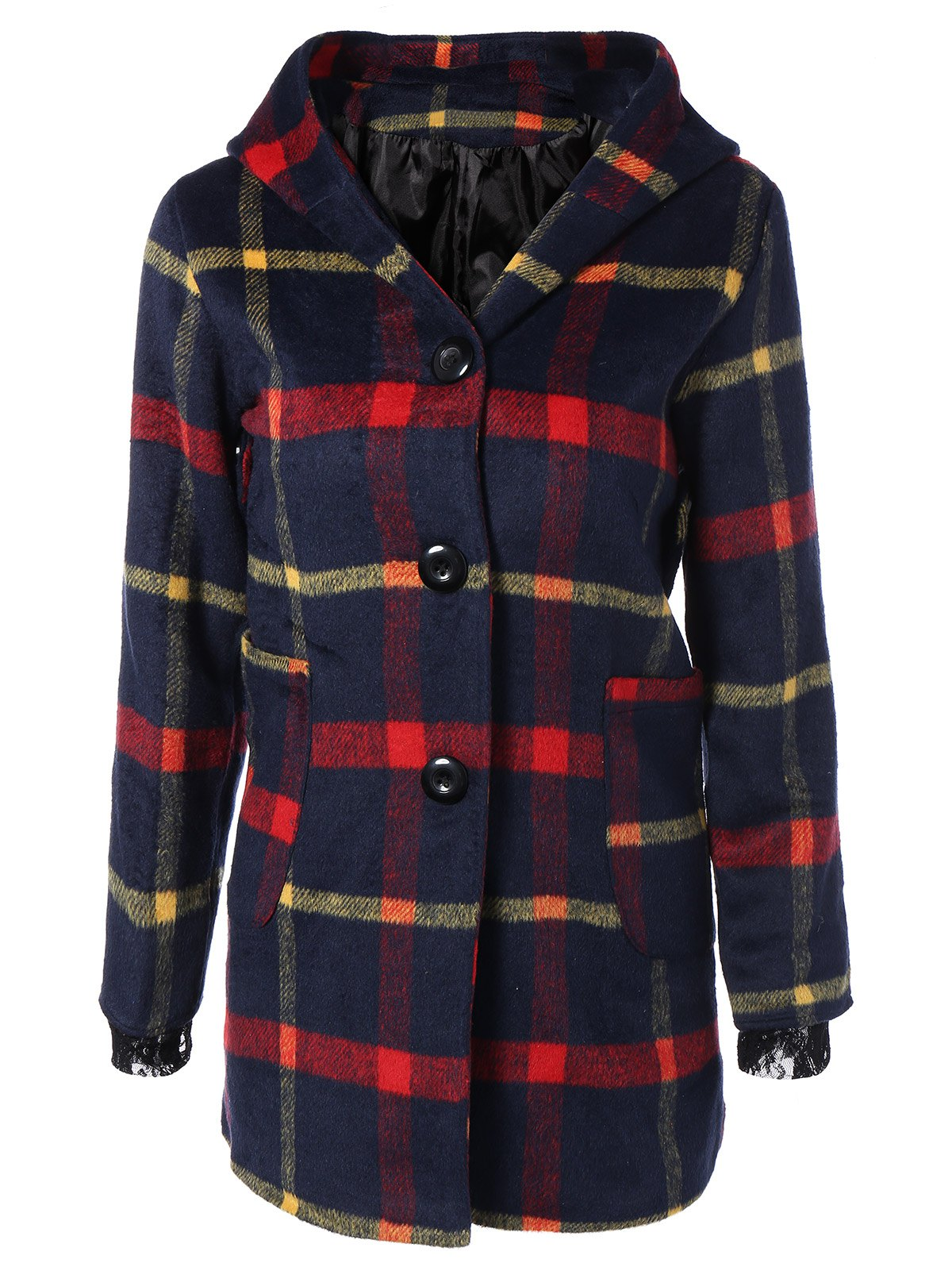 Checked Woolen Coat With Hoodie - PURPLISH BLUE S