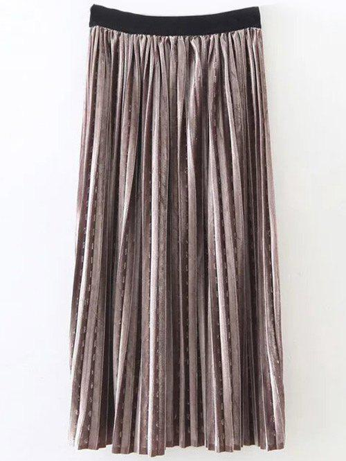 Shiny Pleated Midi Velvet Skirt - GOLD BROWN ONE SIZE
