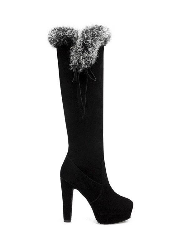 Platform Faux Fur Zipper Knee-High Boots nasipal 2017 new women pu sexy fashion over the knee boots sexy thin high heel boots platform woman shoes big size 34 43 g804