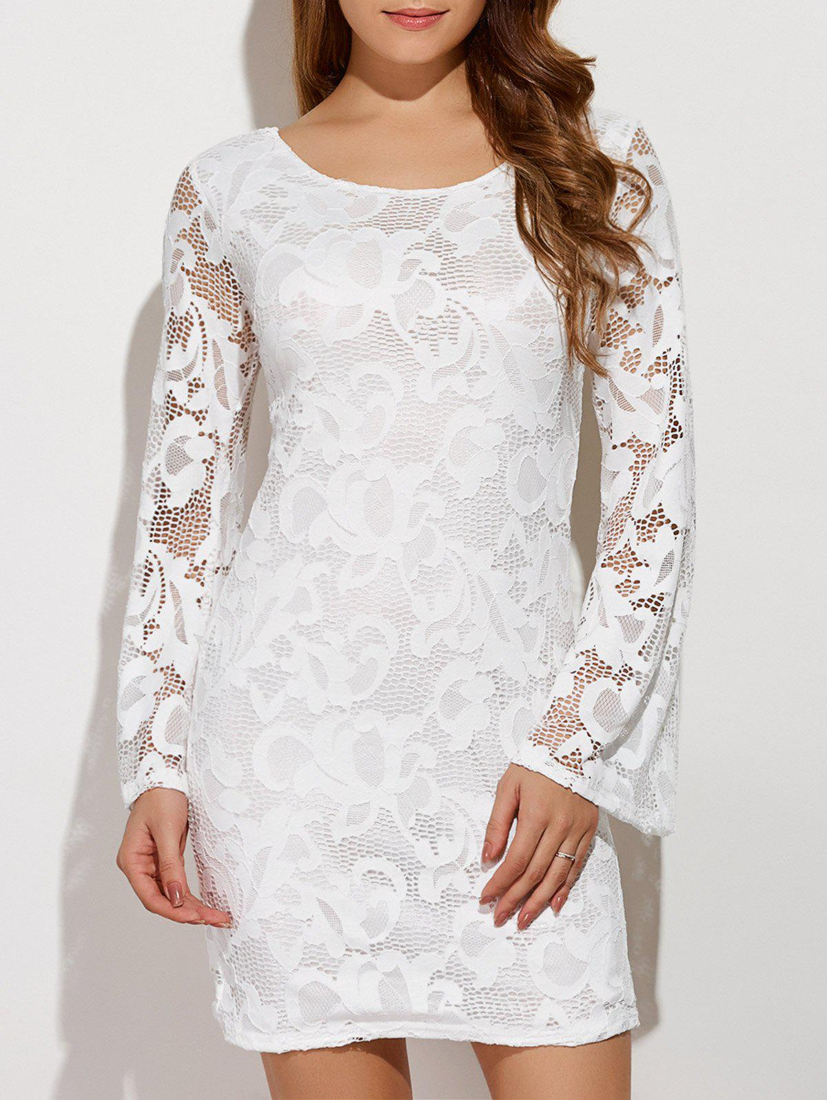 Criss-Cross Lace Dress With Flare SleeveWomen<br><br><br>Size: M<br>Color: WHITE