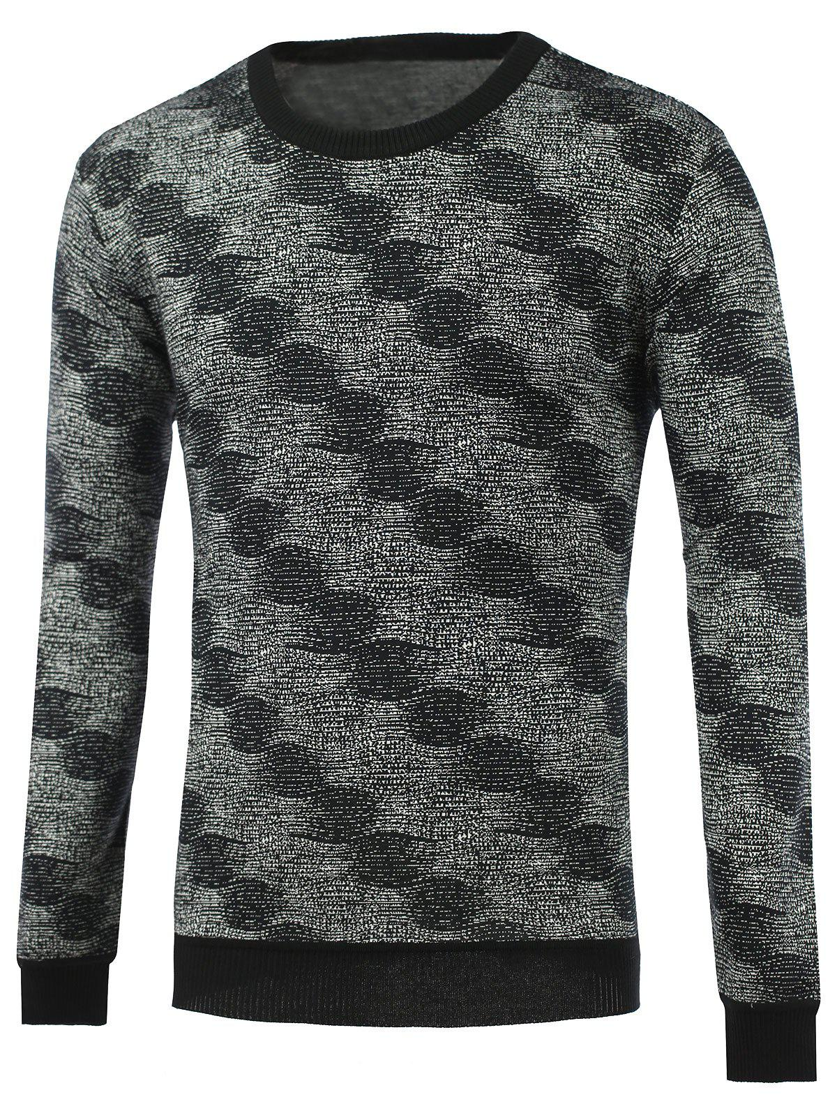Crew Neck Rib-Hem Heathered Graphic Knitwear - BLACK L