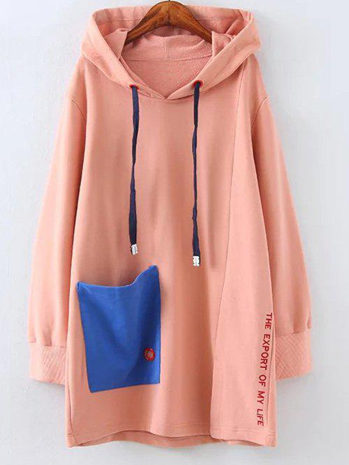 Plus Size Fleece Pocket Patched Long Hoodie plus size fleece lined long pullover hoodie