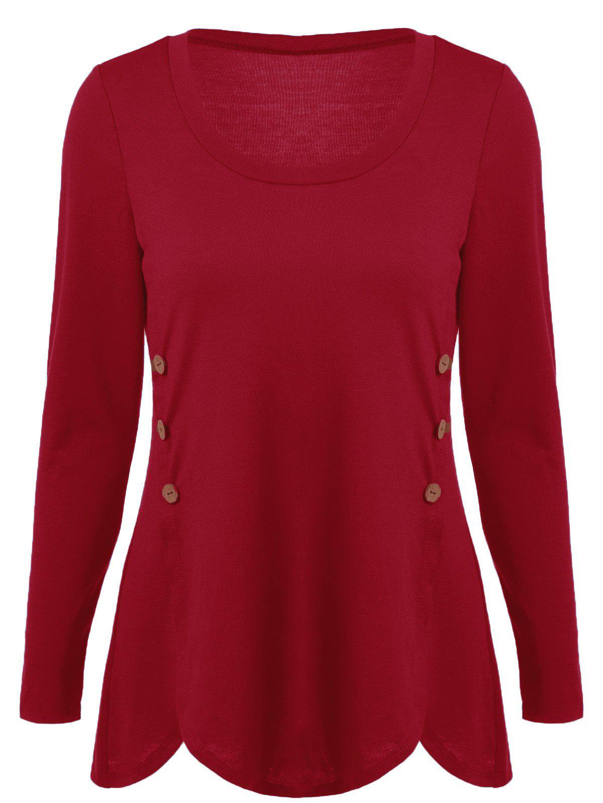 Double-Breasted Asymmetrical T-Shirt - RED XL