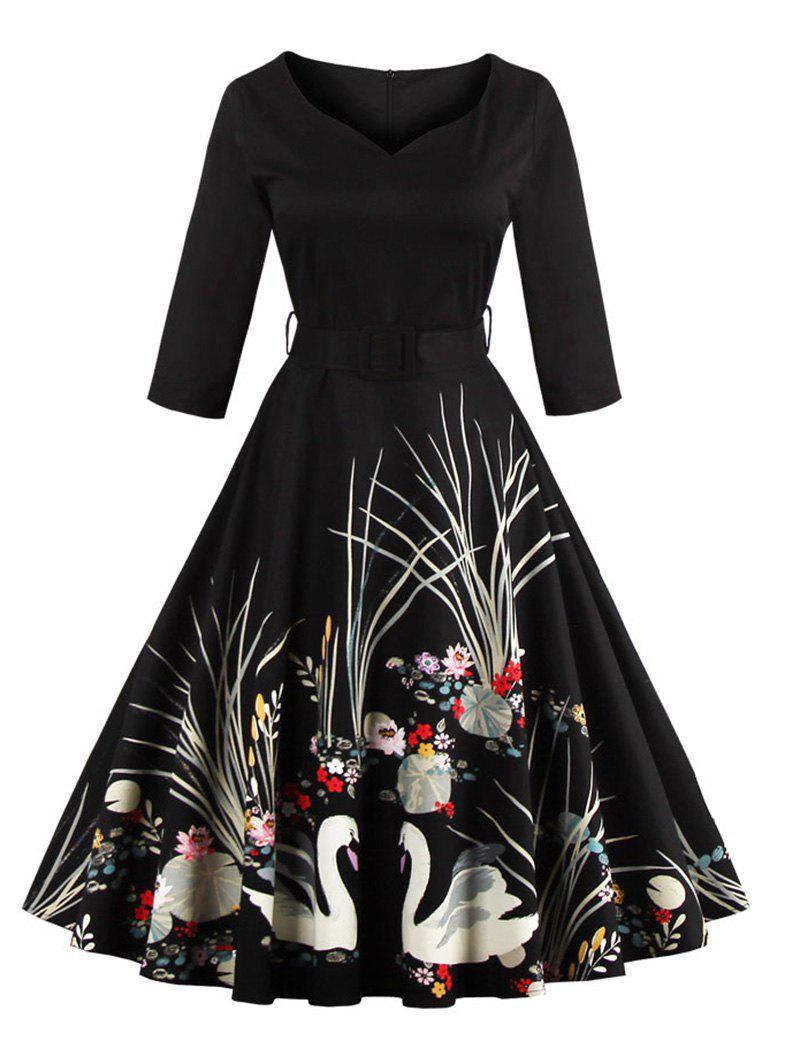 Vintage Print Belted Flare High Waist Dress - BLACK 2XL