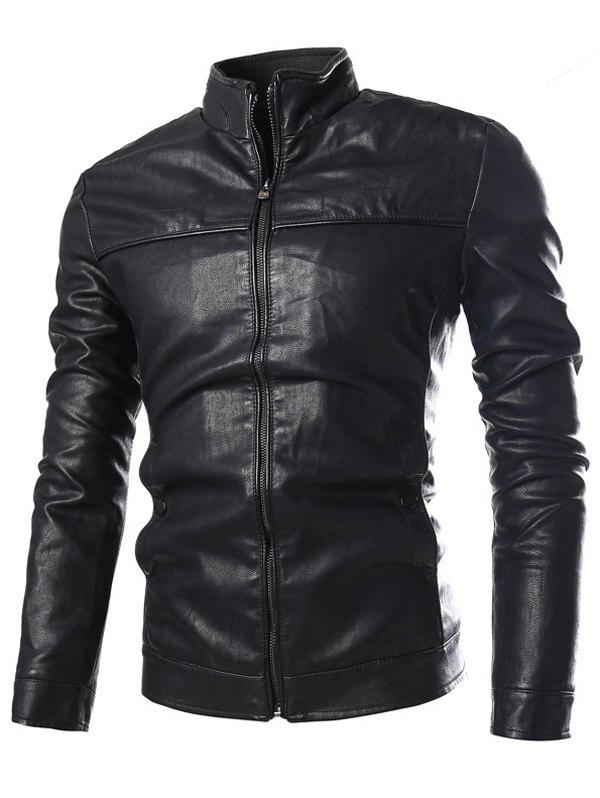 Stand Collar PU-Leather Zip-Up Jacket - BLACK XL