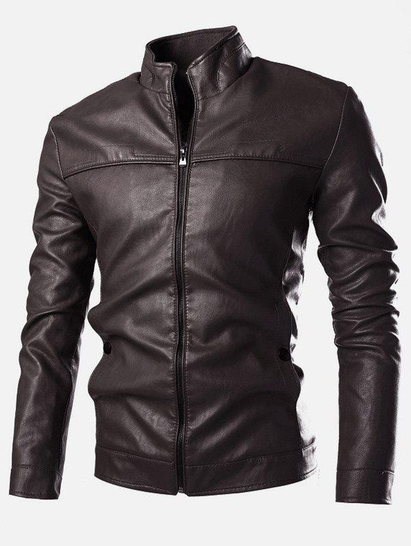 Stand Collar PU-Leather Zip-Up Jacket - COFFEE L