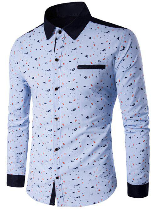 Contrast Insert Floral Printed Button Up Shirt - BLUE XL