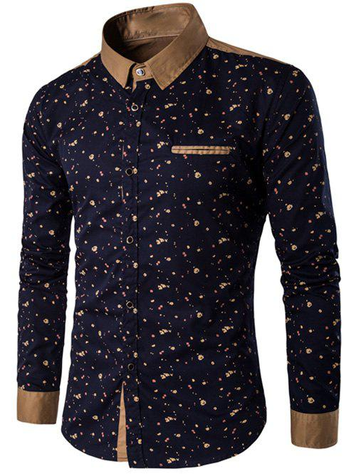 Contrast Insert Floral Printed Button Up Shirt - CADETBLUE M