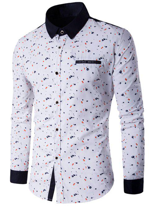 Contrast Insert Floral Printed Button Up Shirt - WHITE 3XL
