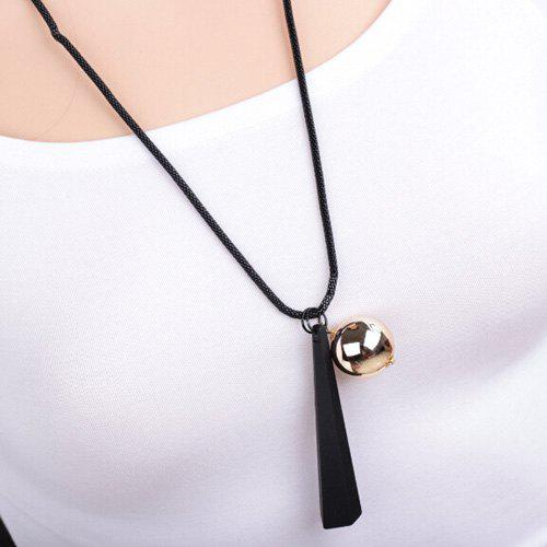 Geometry Wood Metal Ball Pendant Sweater Chain - BLACK
