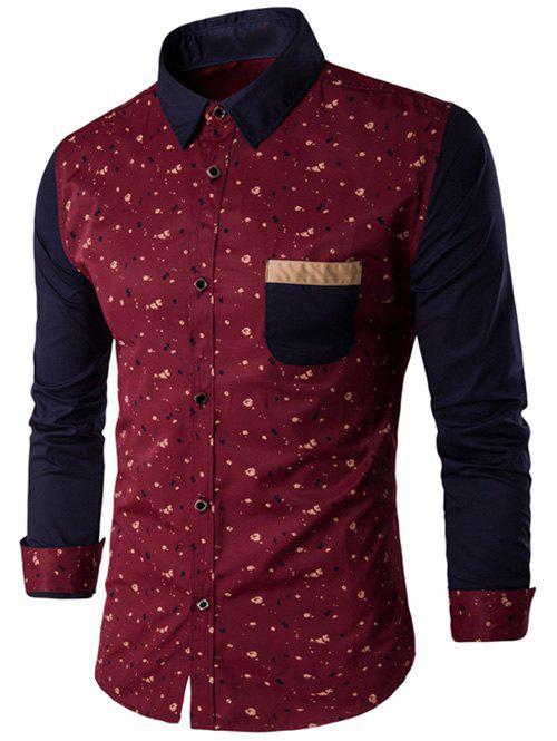Printed Chest Pocket Contrast Insert Shirt - RED M