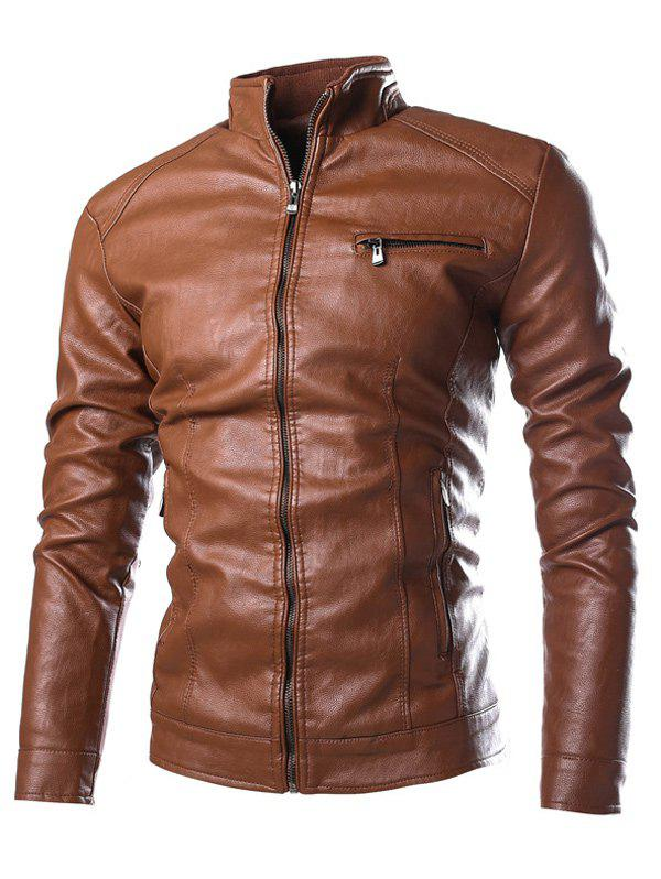 Stand Collar PU-Leather Zipper Embellished Jacket - BROWN L