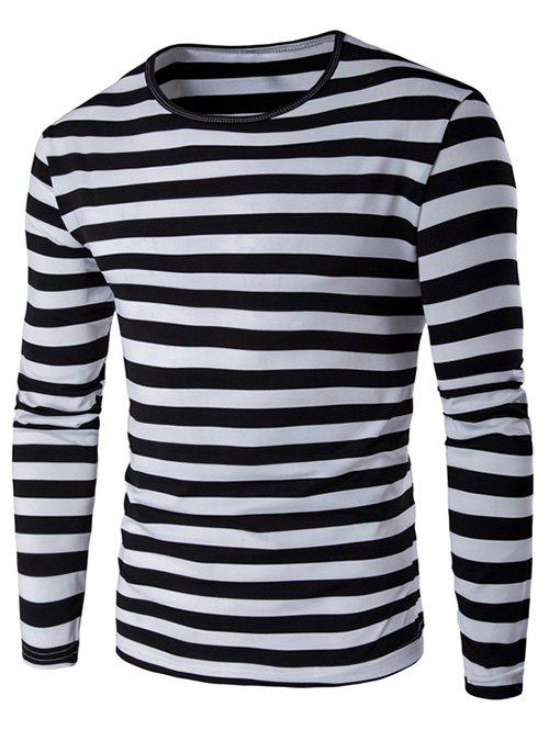 Contrast Color Striped Long Sleeve T-Shirt - BLACK M