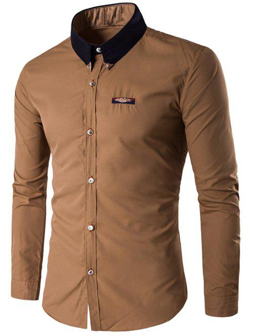 Metal Embellished Contrast Collar Button Up Shirt - EARTHY L