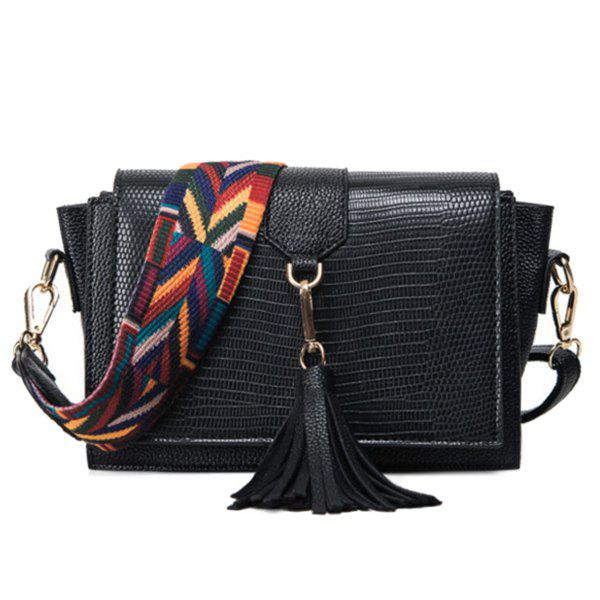 Tassel Colored Strap Winged Crossbody Bag - BLACK